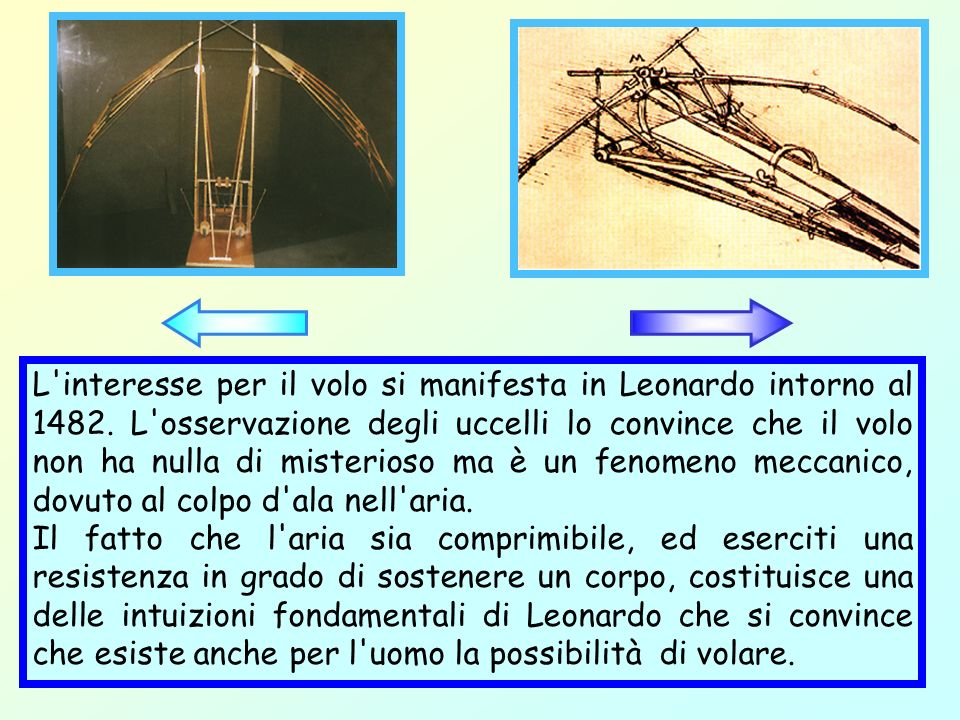 L'interesse per il volo si manifesta in Leonardo intorno al 1482. L'osservazione degli uccelli lo convince che il volo non ha nulla di misterioso ma è