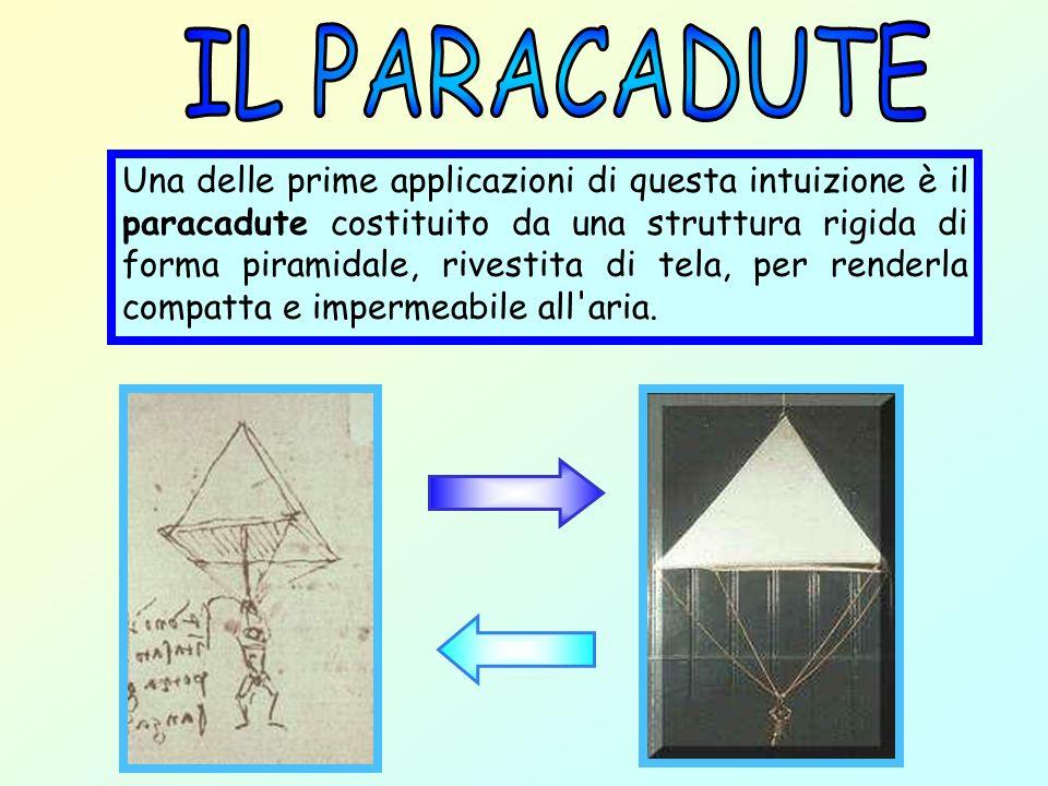 Una delle prime applicazioni di questa intuizione è il paracadute costituito da una struttura rigida di forma piramidale, rivestita di tela, per rende