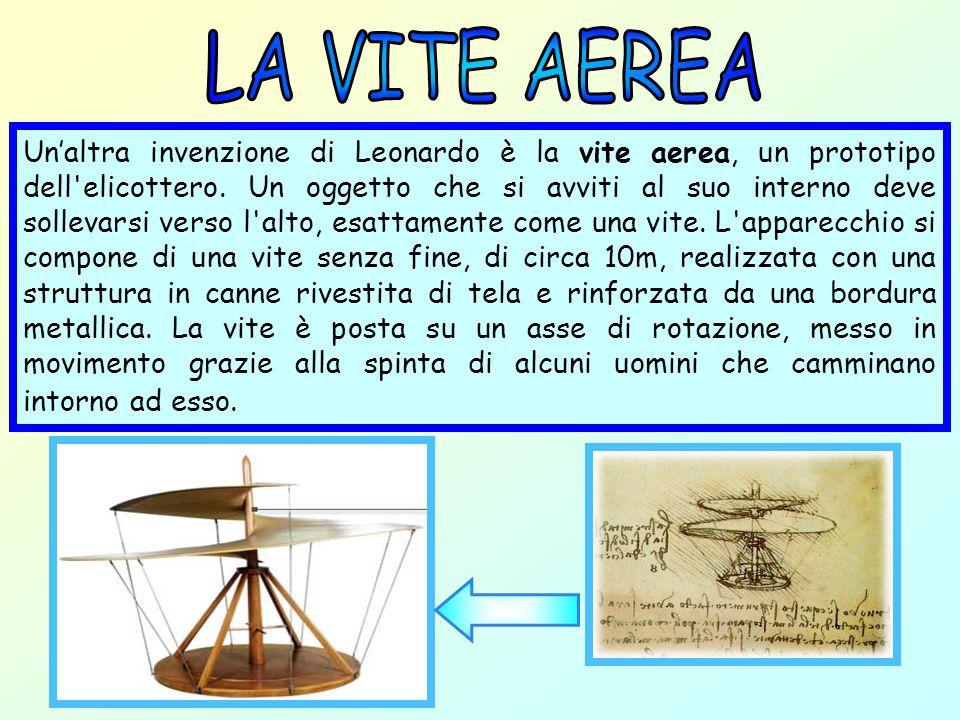 Unaltra invenzione di Leonardo è la vite aerea, un prototipo dell'elicottero. Un oggetto che si avviti al suo interno deve sollevarsi verso l'alto, es