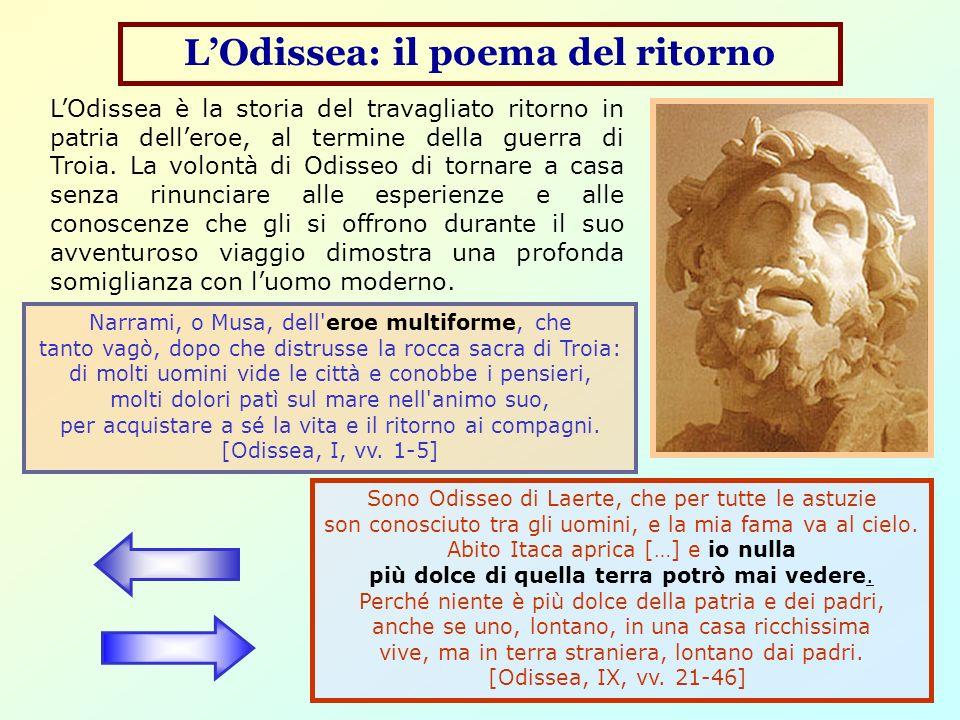 LOdissea: il poema del ritorno Narrami, o Musa, dell'eroe multiforme, che tanto vagò, dopo che distrusse la rocca sacra di Troia: di molti uomini vide