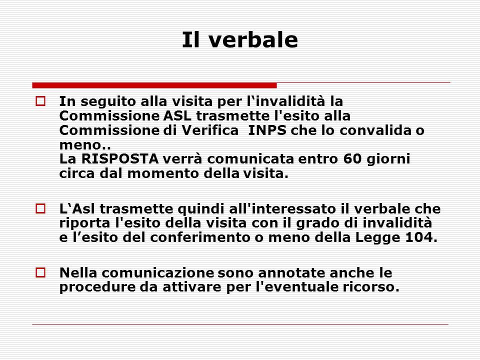 In seguito alla visita per linvalidità la Commissione ASL trasmette l'esito alla Commissione di Verifica INPS che lo convalida o meno.. La RISPOSTA ve