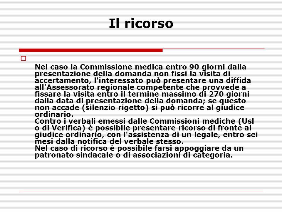 Nel caso la Commissione medica entro 90 giorni dalla presentazione della domanda non fissi la visita di accertamento, l'interessato può presentare una