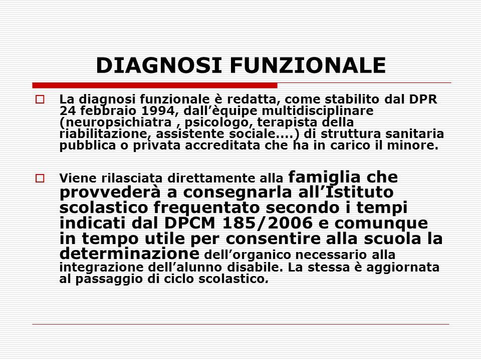 DIAGNOSI FUNZIONALE La diagnosi funzionale è redatta, come stabilito dal DPR 24 febbraio 1994, dallèquipe multidisciplinare (neuropsichiatra, psicolog