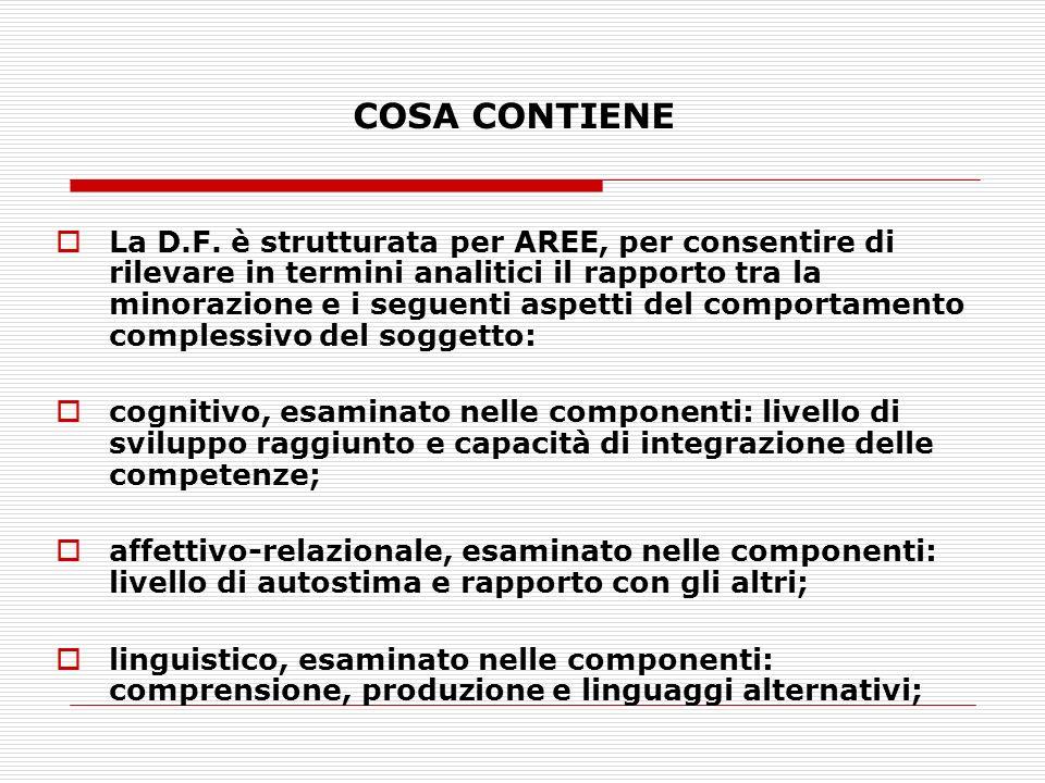 COSA CONTIENE La D.F. è strutturata per AREE, per consentire di rilevare in termini analitici il rapporto tra la minorazione e i seguenti aspetti del
