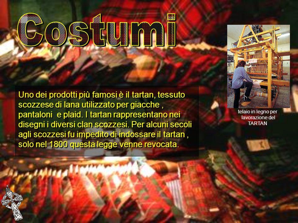 Uno dei prodotti più famosi è il tartan, tessuto scozzese di lana utilizzato per giacche, pantaloni e plaid. I tartan rappresentano nei disegni i dive