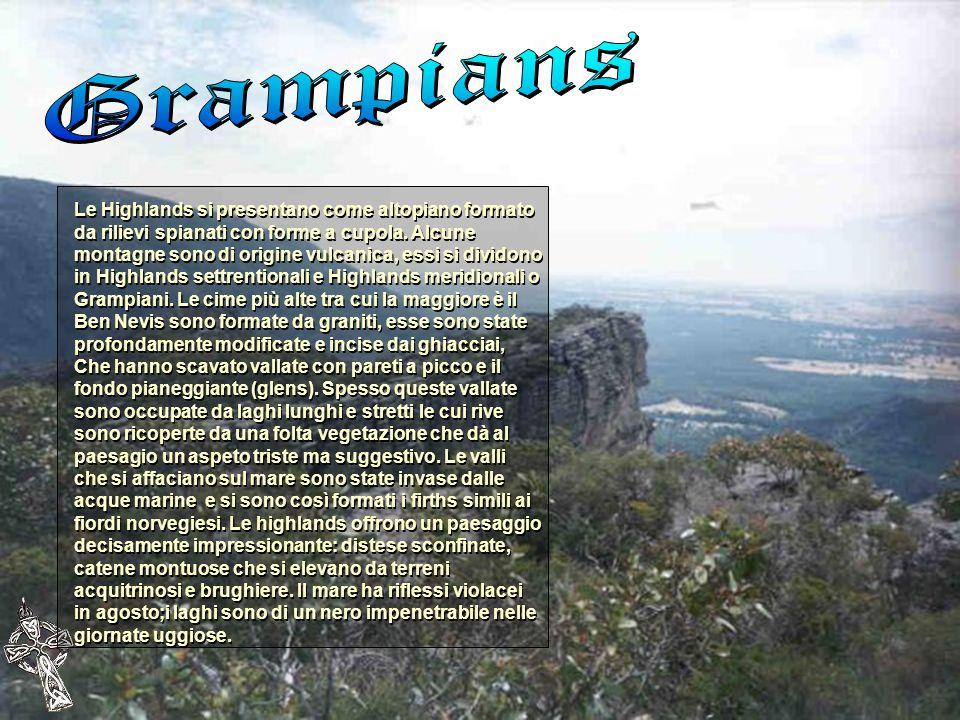 Le Highlands si presentano come altopiano formato da rilievi spianati con forme a cupola. Alcune montagne sono di origine vulcanica, essi si dividono