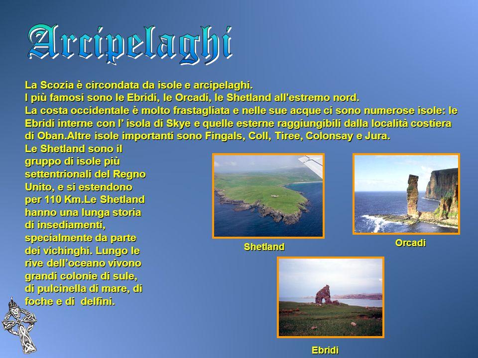 La Scozia è circondata da isole e arcipelaghi. I più famosi sono le Ebridi, le Orcadi, le Shetland all'estremo nord. La costa occidentale è molto fras