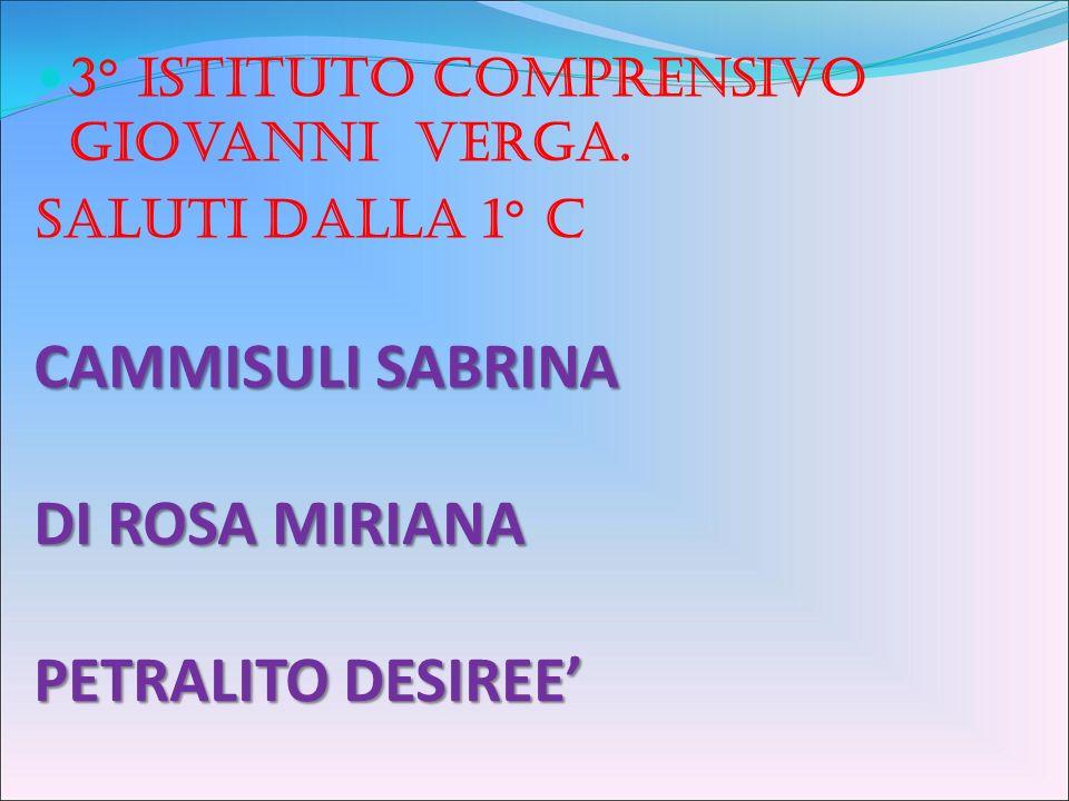 CAMMISULI SABRINA DI ROSA MIRIANA PETRALITO DESIREE 3° istituto comprensivo Giovanni Verga.