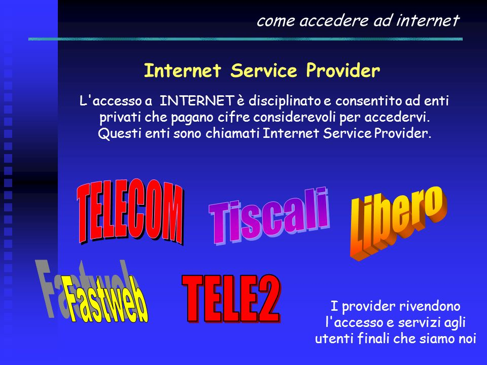 ADSL Asymmetric Digital Subscriber Line utilizza le linee telefoniche convenzionali per trasmettere dati ad alta velocità (fino a 20 Mbps). In questo