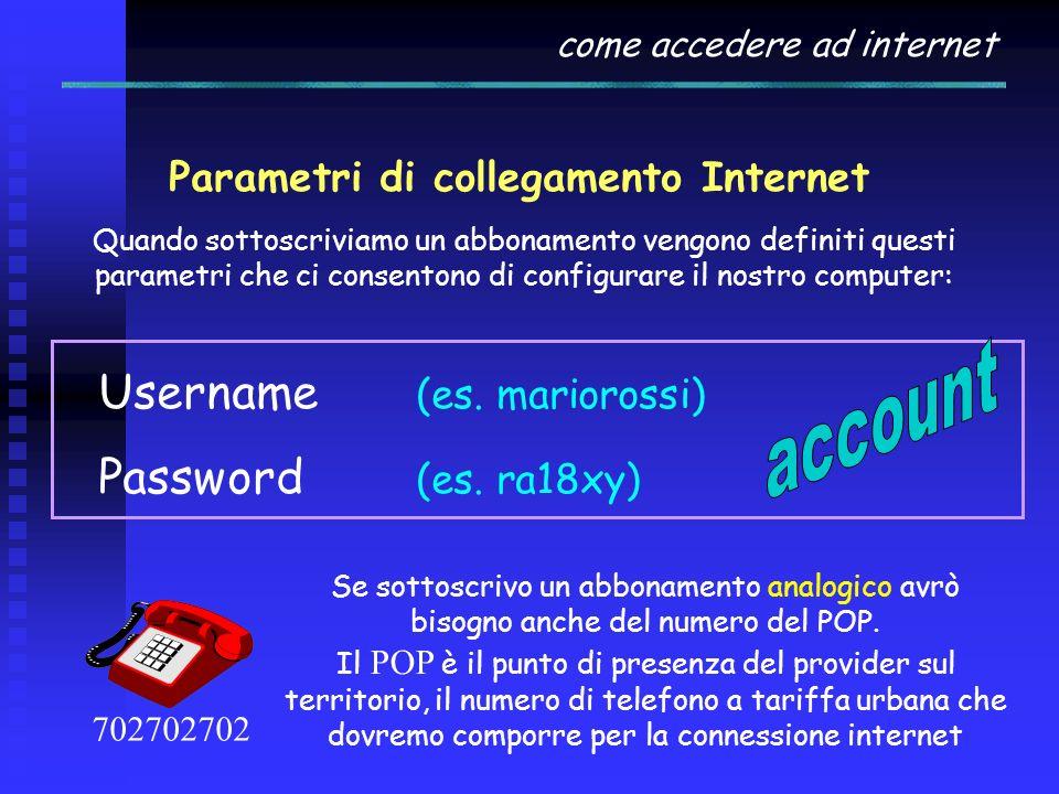 come accedere ad internet Internet Service Provider L'accesso a INTERNET è disciplinato e consentito ad enti privati che pagano cifre considerevoli pe
