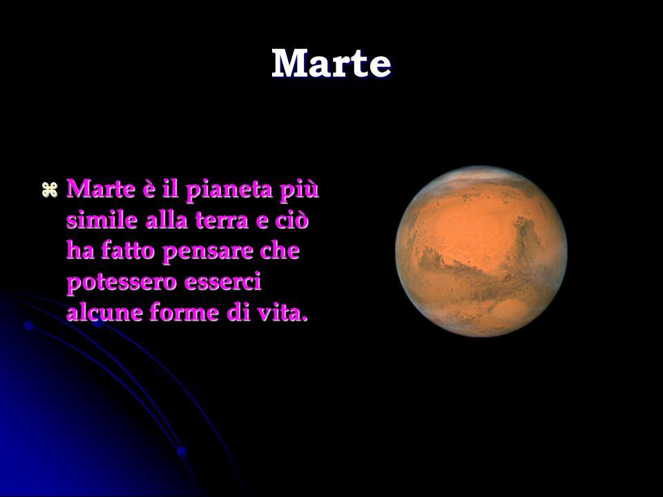 Marte Marte è il pianeta più simile alla terra e ciò ha fatto pensare che potessero esserci alcune forme di vita. Marte è il pianeta più simile alla t