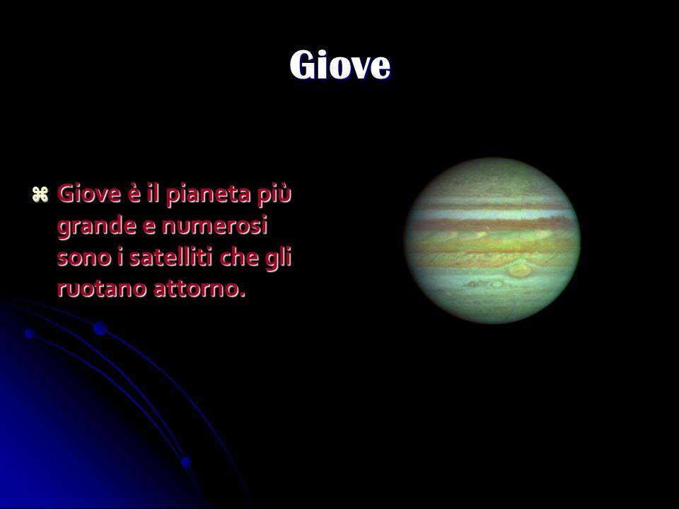 Giove Giove è il pianeta più grande e numerosi sono i satelliti che gli ruotano attorno. Giove è il pianeta più grande e numerosi sono i satelliti che