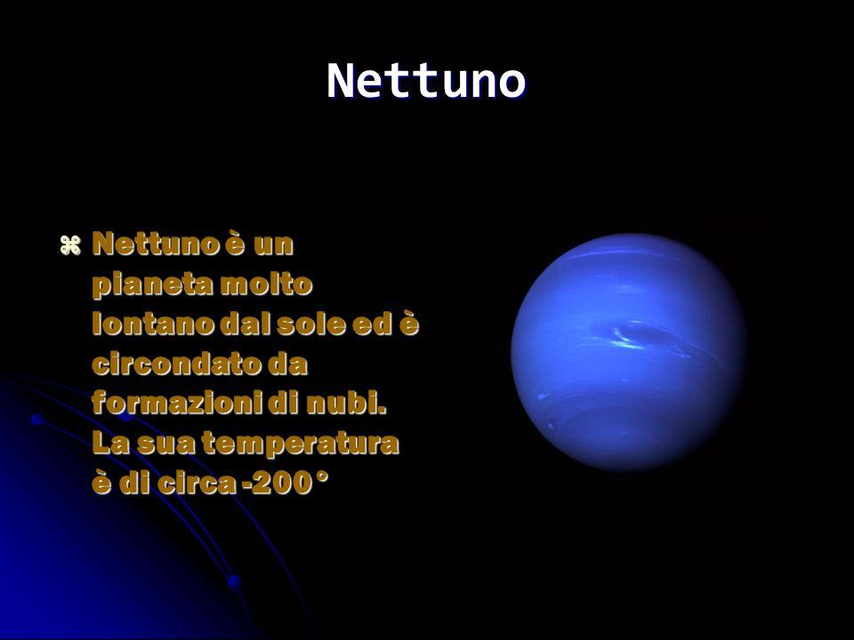 Nettuno Nettuno è un pianeta molto lontano dal sole ed è circondato da formazioni di nubi. La sua temperatura è di circa -200° Nettuno è un pianeta mo