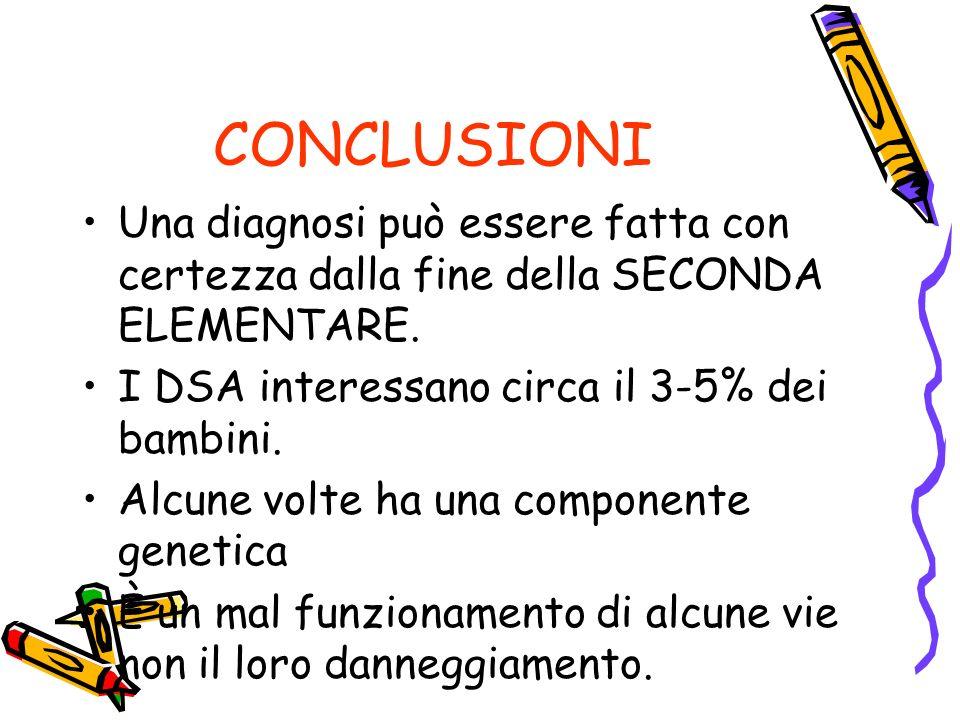 CONCLUSIONI Una diagnosi può essere fatta con certezza dalla fine della SECONDA ELEMENTARE.