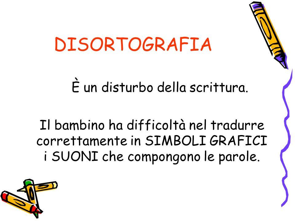 DISORTOGRAFIA È un disturbo della scrittura.