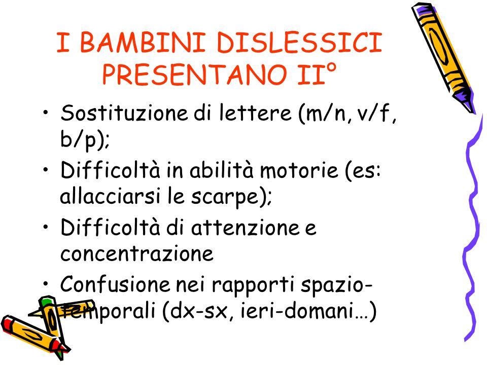 I BAMBINI DISLESSICI PRESENTANO II° Sostituzione di lettere (m/n, v/f, b/p); Difficoltà in abilità motorie (es: allacciarsi le scarpe); Difficoltà di attenzione e concentrazione Confusione nei rapporti spazio- temporali (dx-sx, ieri-domani…)