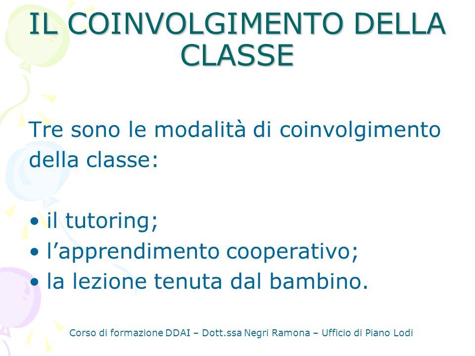Corso di formazione DDAI – Dott.ssa Negri Ramona – Ufficio di Piano Lodi IL TUTORING È una modalità collaborativa di apprendimento che favorisce le interazioni fra compagni stimolando anche gli scambi verbali e la prossimità fisica.