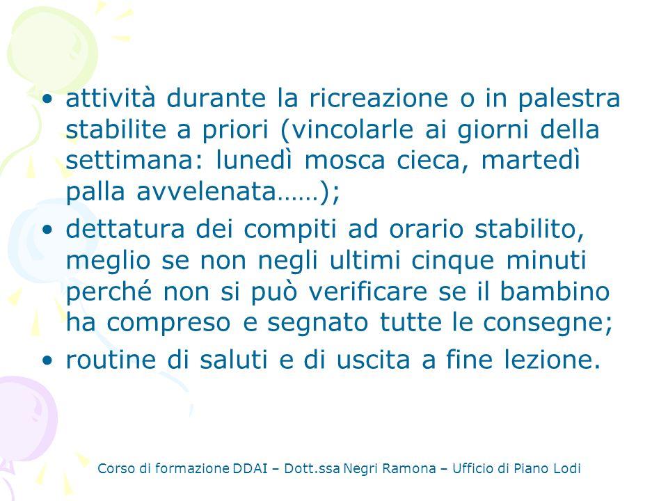 Corso di formazione DDAI – Dott.ssa Negri Ramona – Ufficio di Piano Lodi LE REGOLE Per essere efficaci devono: - essere condivise; - essere discusse con i bambini e definirle con loro.