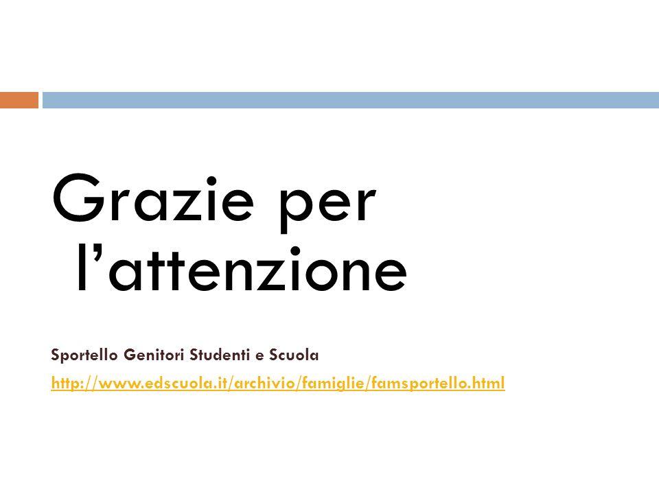 23 Grazie per lattenzione Sportello Genitori Studenti e Scuola http://www.edscuola.it/archivio/famiglie/famsportello.html