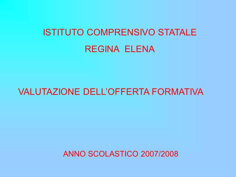ISTITUTO COMPRENSIVO STATALE REGINA ELENA VALUTAZIONE DELLOFFERTA FORMATIVA ANNO SCOLASTICO 2007/2008