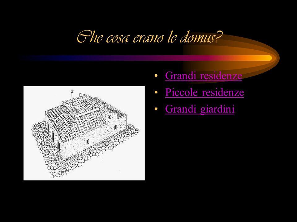 Che cosa erano le domus? Grandi residenze Piccole residenze Grandi giardini
