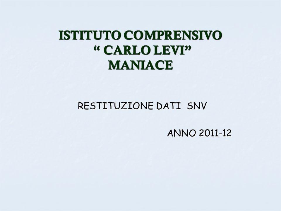 ISTITUTO COMPRENSIVO CARLO LEVI MANIACE RESTITUZIONE DATI SNV ANNO 2011-12