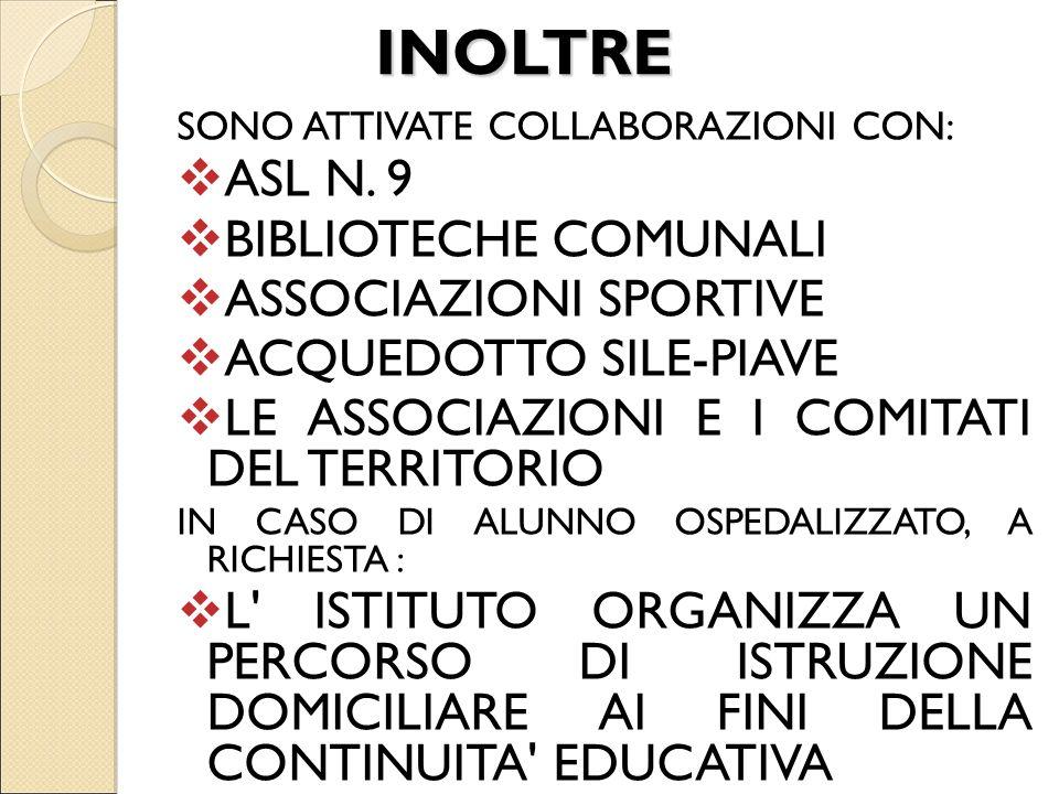 INOLTRE SONO ATTIVATE COLLABORAZIONI CON: ASL N. 9 BIBLIOTECHE COMUNALI ASSOCIAZIONI SPORTIVE ACQUEDOTTO SILE-PIAVE LE ASSOCIAZIONI E I COMITATI DEL T