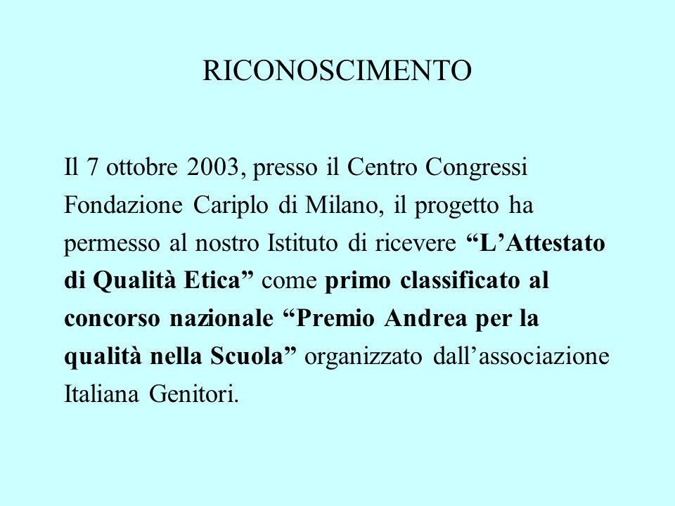 RICONOSCIMENTO Il 7 ottobre 2003, presso il Centro Congressi Fondazione Cariplo di Milano, il progetto ha permesso al nostro Istituto di ricevere LAtt
