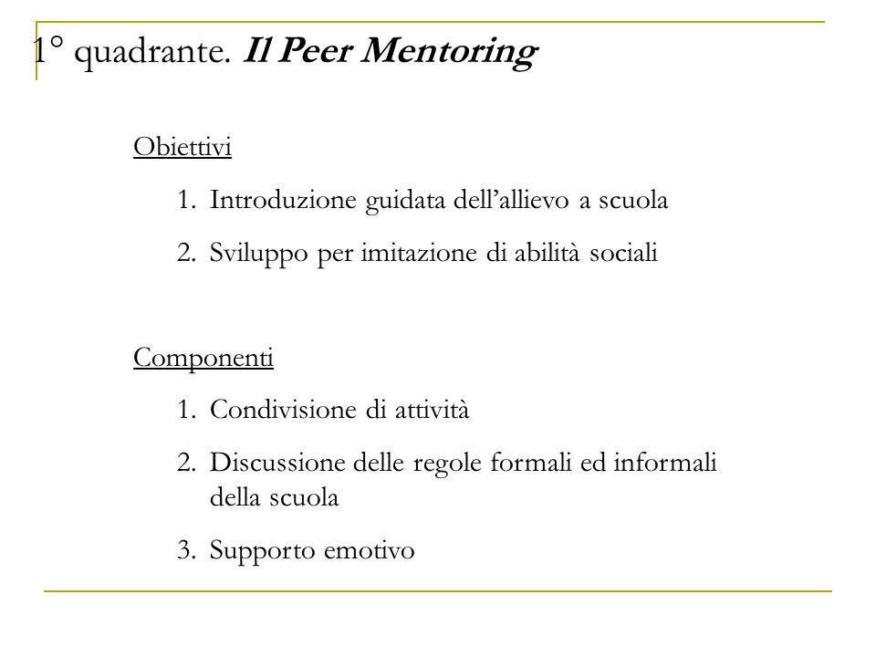 1° quadrante. Il Peer Mentoring Obiettivi 1.Introduzione guidata dellallievo a scuola 2.Sviluppo per imitazione di abilità sociali Componenti 1.Condiv