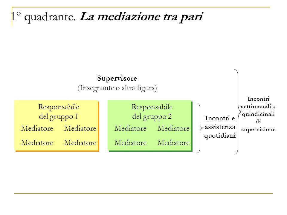 Supervisore (Insegnante o altra figura) Responsabile del gruppo 1 Mediatore Incontri e assistenza quotidiani Incontri settimanali o quindicinali di su