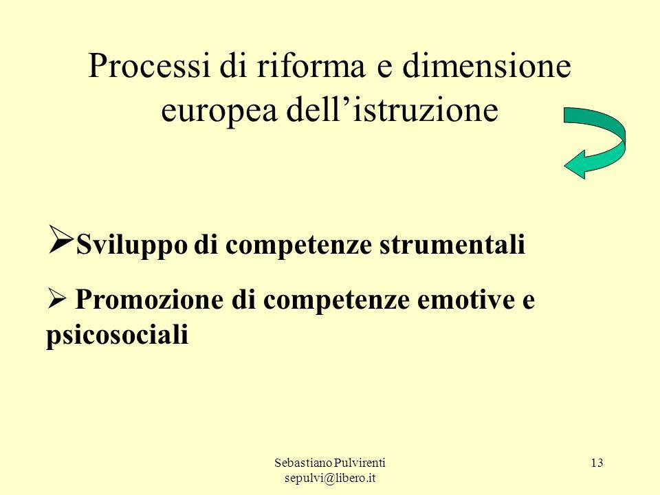 Sebastiano Pulvirenti sepulvi@libero.it 13 Sviluppo di competenze strumentali Promozione di competenze emotive e psicosociali Processi di riforma e dimensione europea dellistruzione