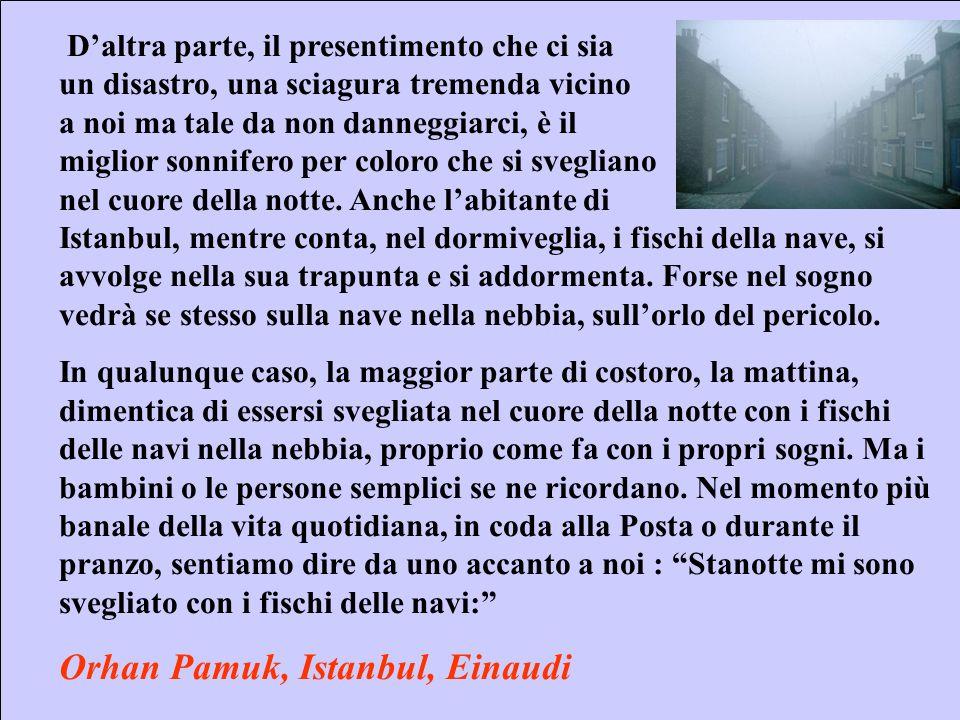 Sebastiano Pulvirenti sepulvi@libero.it 20 Daltra parte, il presentimento che ci sia un disastro, una sciagura tremenda vicino a noi ma tale da non danneggiarci, è il miglior sonnifero per coloro che si svegliano nel cuore della notte.