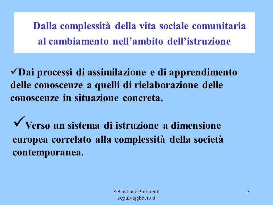 Sebastiano Pulvirenti sepulvi@libero.it 4 Cosa chiede lEuropa al sistema di istruzione La formazione di cittadini in grado di governare la complessità delle situazioni ed i cambiamenti.