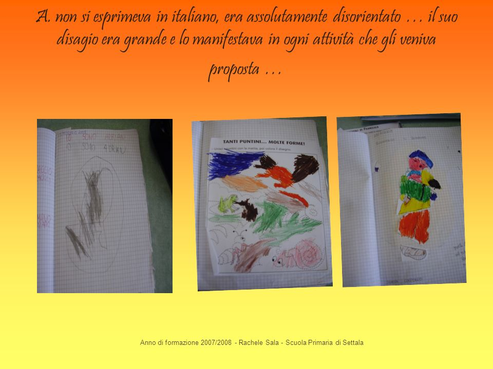 Anno di formazione 2007/2008 - Rachele Sala - Scuola Primaria di Settala A. non si esprimeva in italiano, era assolutamente disorientato … il suo disa