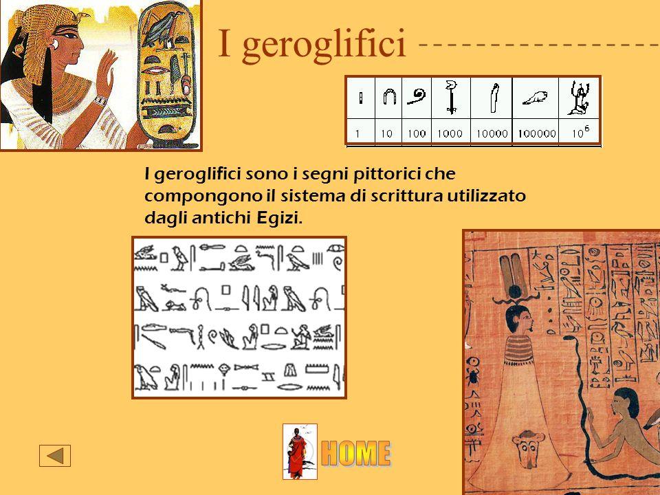 I geroglifici I geroglifici sono i segni pittorici che compongono il sistema di scrittura utilizzato dagli antichi Egizi.