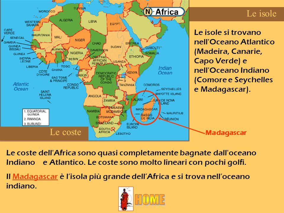 Le coste dell'Africa sono quasi completamente bagnate dall'oceano Indiano e Atlantico. Le coste sono molto lineari con pochi golfi. Il Madagascar è li