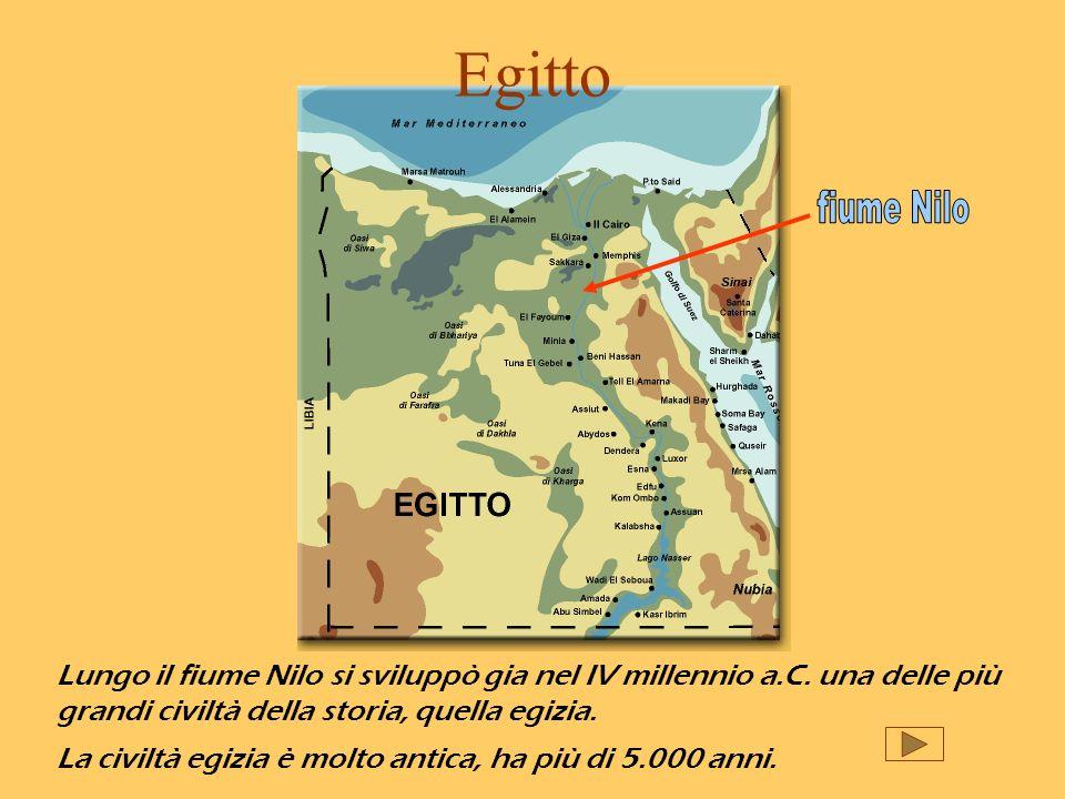 Egitto Lungo il fiume Nilo si sviluppò gia nel IV millennio a.C. una delle più grandi civiltà della storia, quella egizia. La civiltà egizia è molto a