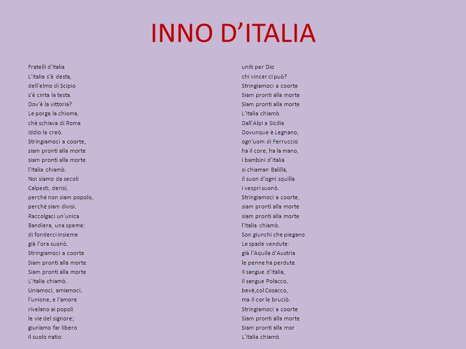 INNO DITALIA Fratelli dItalia LItalia sè desta, dellelmo di Scipio sè cinta la testa.