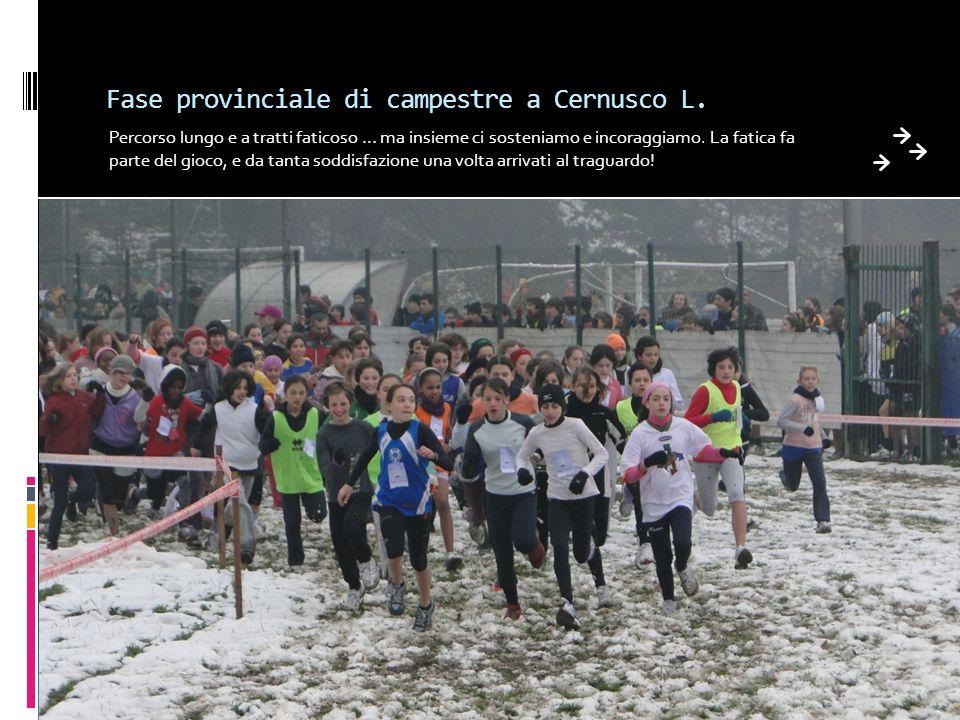 Fase provinciale di campestre a Cernusco L. Percorso lungo e a tratti faticoso … ma insieme ci sosteniamo e incoraggiamo. La fatica fa parte del gioco