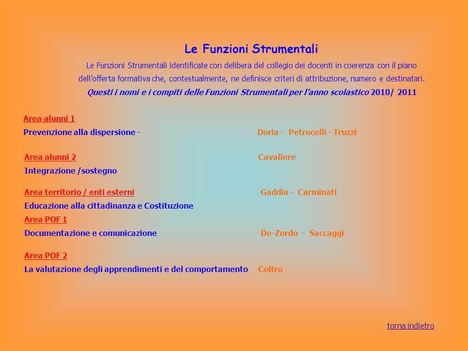 Le Funzioni Strumentali Le Funzioni Strumentali identificate con delibera del collegio dei docenti in coerenza con il piano dellofferta formativa che,