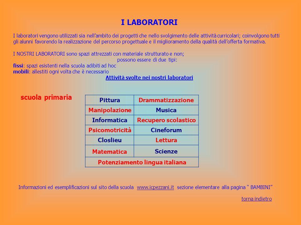 I LABORATORI I laboratori vengono utilizzati sia nellambito dei progetti che nello svolgimento delle attività curricolari; coinvolgono tutti gli alunn