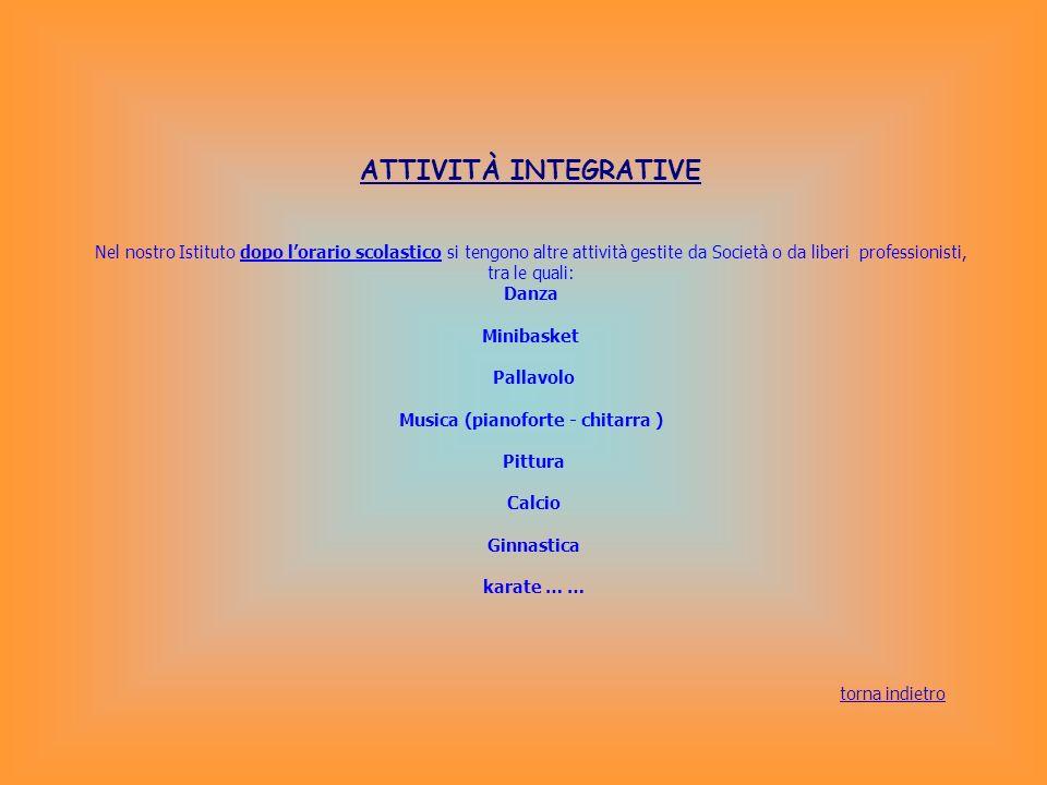 ATTIVITÀ INTEGRATIVE Nel nostro Istituto dopo lorario scolastico si tengono altre attività gestite da Società o da liberi professionisti, tra le quali