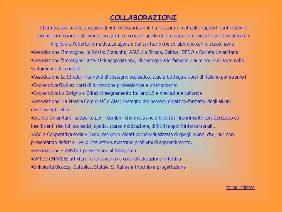 COLLABORAZIONI LIstituto, aperto alle proposte di Enti ed Associazioni, ha instaurato molteplici rapporti continuativi o sporadici in funzione dei sin