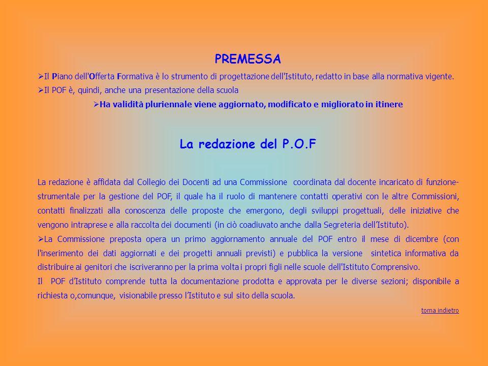 PREMESSA Il Piano dell'Offerta Formativa è lo strumento di progettazione dell'Istituto, redatto in base alla normativa vigente. Il POF è, quindi, anch