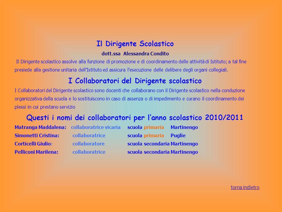 Il Dirigente Scolastico dott.ssa Alessandra Condito Il Dirigente scolastico assolve alla funzione di promozione e di coordinamento delle attività di I