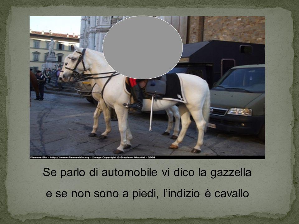 Se parlo di automobile vi dico la gazzella e se non sono a piedi, lindizio è cavallo