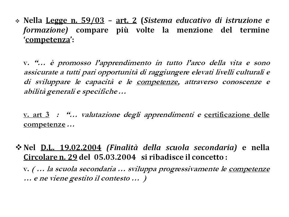 Il termine competenza è indicato pure nel testo delle Indicazioni Nazionali per i Piani di Studio Personalizzati - rispettivamente negli all.
