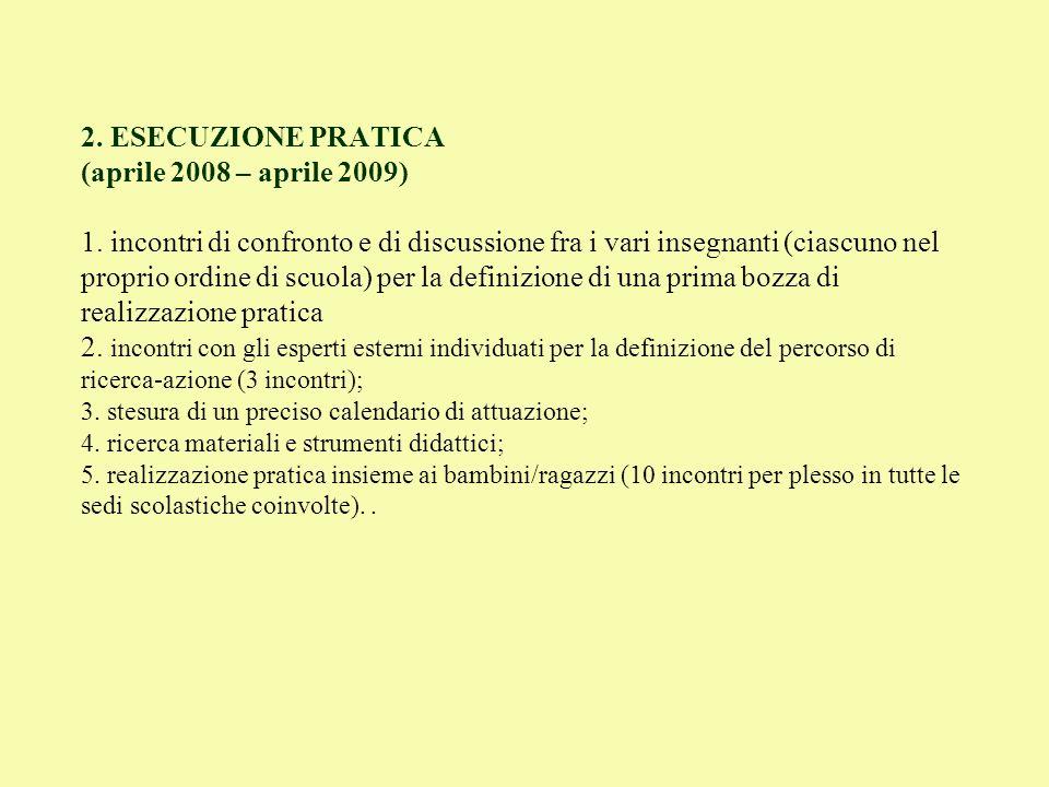 2. ESECUZIONE PRATICA (aprile 2008 – aprile 2009) 1. incontri di confronto e di discussione fra i vari insegnanti (ciascuno nel proprio ordine di scuo