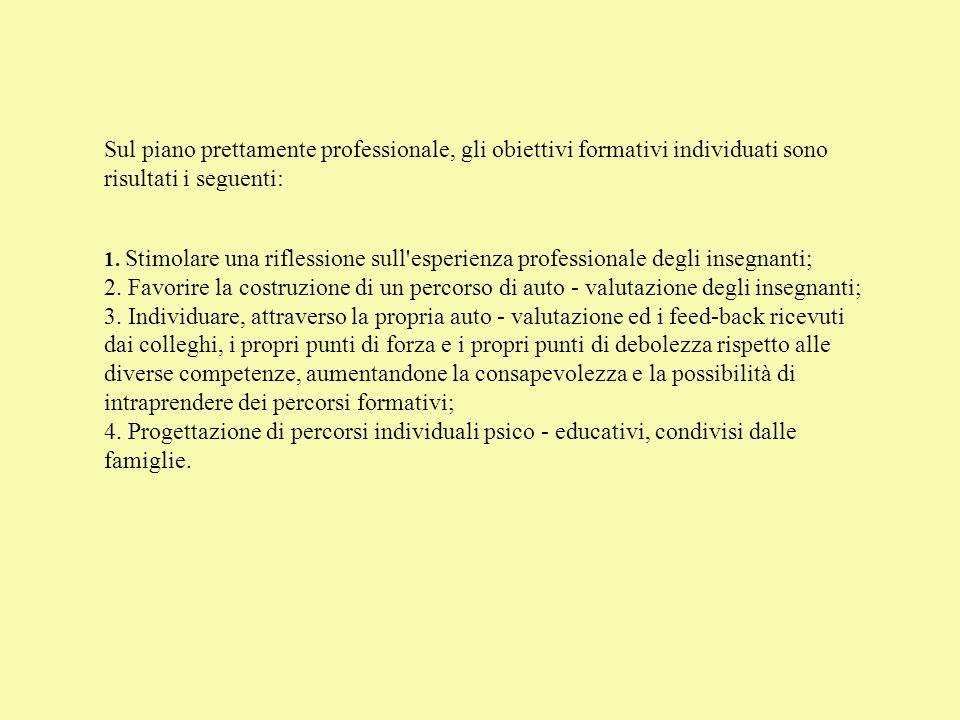 Sul piano prettamente professionale, gli obiettivi formativi individuati sono risultati i seguenti: 1. Stimolare una riflessione sull'esperienza profe