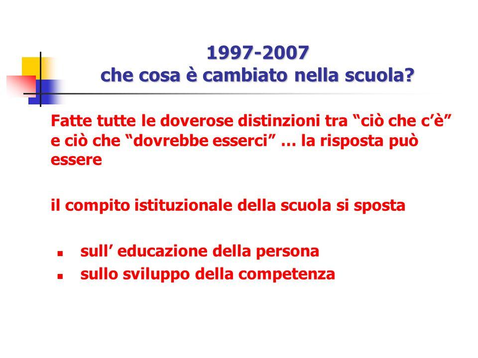 1997-2007 che cosa è cambiato nella scuola? Fatte tutte le doverose distinzioni tra ciò che cè e ciò che dovrebbe esserci … la risposta può essere il